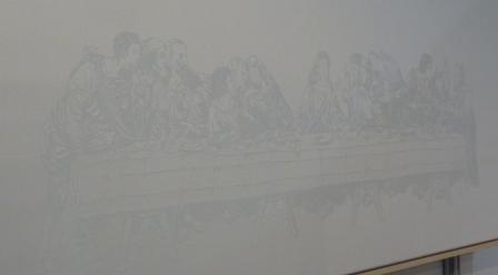 Damast Het Laatste Avondmaal naar Leonardo da Vinci